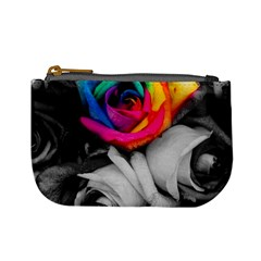 Blach,white Splash Roses Mini Coin Purses by MoreColorsinLife