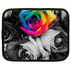 Blach,white Splash Roses Netbook Case (xl)  by MoreColorsinLife