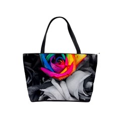 Blach,white Splash Roses Shoulder Handbags by MoreColorsinLife