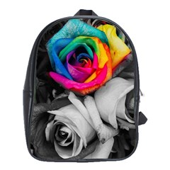Blach,white Splash Roses School Bags(large)  by MoreColorsinLife
