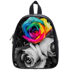 Blach,white Splash Roses School Bags (small)  by MoreColorsinLife