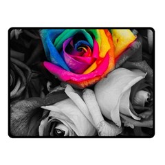 Blach,white Splash Roses Fleece Blanket (Small) by MoreColorsinLife