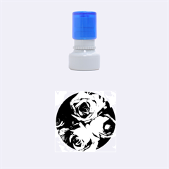 Blach,white Splash Roses Rubber Round Stamps (small)