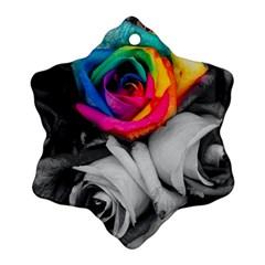 Blach,white Splash Roses Snowflake Ornament (2 Side) by MoreColorsinLife
