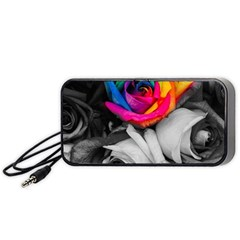 Blach,white Splash Roses Portable Speaker (black)  by MoreColorsinLife