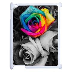 Blach,white Splash Roses Apple Ipad 2 Case (white) by MoreColorsinLife