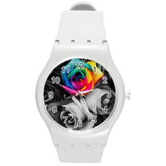 Blach,white Splash Roses Round Plastic Sport Watch (m) by MoreColorsinLife