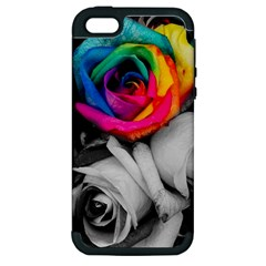 Blach,white Splash Roses Apple Iphone 5 Hardshell Case (pc+silicone) by MoreColorsinLife