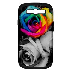 Blach,white Splash Roses Samsung Galaxy S Iii Hardshell Case (pc+silicone)