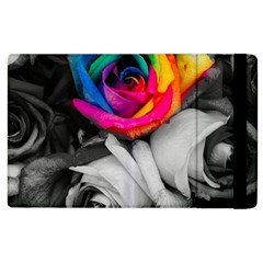 Blach,white Splash Roses Apple Ipad 3/4 Flip Case by MoreColorsinLife
