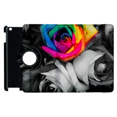 Blach,white Splash Roses Apple Ipad 3/4 Flip 360 Case by MoreColorsinLife