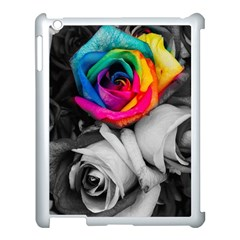 Blach,white Splash Roses Apple Ipad 3/4 Case (white) by MoreColorsinLife