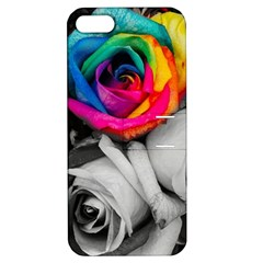 Blach,white Splash Roses Apple Iphone 5 Hardshell Case With Stand