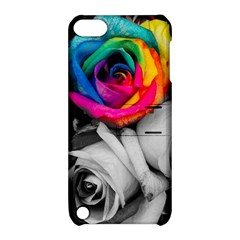 Blach,white Splash Roses Apple Ipod Touch 5 Hardshell Case With Stand by MoreColorsinLife