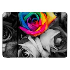 Blach,white Splash Roses Samsung Galaxy Tab 8 9  P7300 Flip Case by MoreColorsinLife