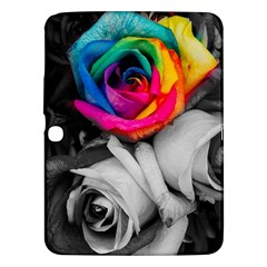 Blach,white Splash Roses Samsung Galaxy Tab 3 (10 1 ) P5200 Hardshell Case