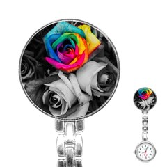 Blach,white Splash Roses Stainless Steel Nurses Watches by MoreColorsinLife
