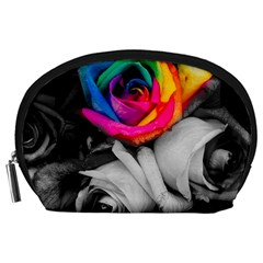 Blach,white Splash Roses Accessory Pouches (large)  by MoreColorsinLife