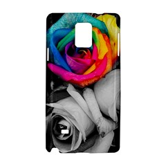 Blach,white Splash Roses Samsung Galaxy Note 4 Hardshell Case by MoreColorsinLife