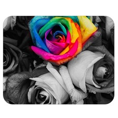 Blach,white Splash Roses Double Sided Flano Blanket (medium)