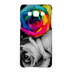Blach,white Splash Roses Samsung Galaxy A5 Hardshell Case  by MoreColorsinLife