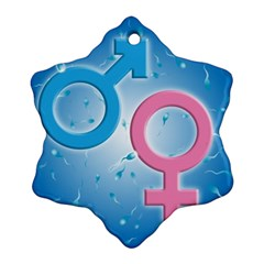 Sperm and Gender Symbols  Snowflake Ornament (2-Side) by ScienceGeek