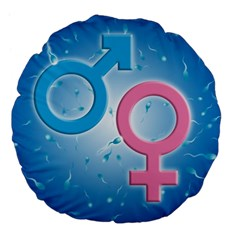 Sperm And Gender Symbols  Large 18  Premium Flano Round Cushions by ScienceGeek