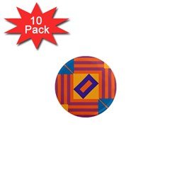 Shapes And Stripes Symmetric Design 1  Mini Magnet (10 Pack)  by LalyLauraFLM