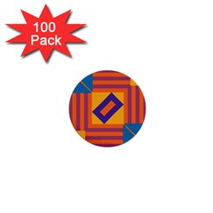 Shapes And Stripes Symmetric Design 1  Mini Button (100 Pack)  by LalyLauraFLM