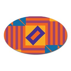 Shapes And Stripes Symmetric Design Magnet (oval) by LalyLauraFLM