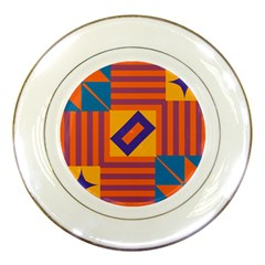 Shapes And Stripes Symmetric Design Porcelain Plate by LalyLauraFLM