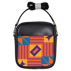 Shapes And Stripes Symmetric Design Girls Sling Bag by LalyLauraFLM