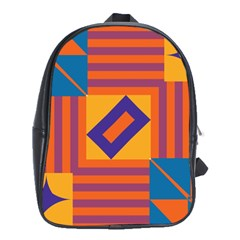 Shapes And Stripes Symmetric Design School Bag (xl) by LalyLauraFLM