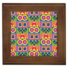 Colorful Shapes In Rhombus Pattern Framed Tile by LalyLauraFLM