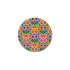 Colorful Shapes In Rhombus Pattern Golf Ball Marker (10 Pack) by LalyLauraFLM