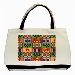 Colorful Shapes In Rhombus Pattern Basic Tote Bag by LalyLauraFLM