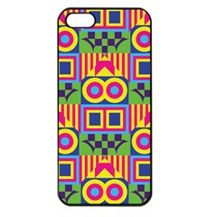 Colorful Shapes In Rhombus Pattern Apple Iphone 5 Seamless Case (black) by LalyLauraFLM