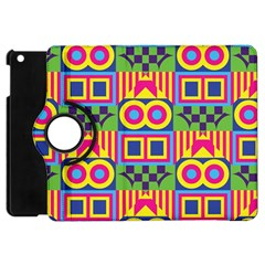 Colorful Shapes In Rhombus Pattern Apple Ipad Mini Flip 360 Case by LalyLauraFLM