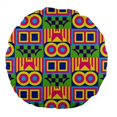 Colorful Shapes In Rhombus Pattern Large 18  Premium Round Cushion  by LalyLauraFLM