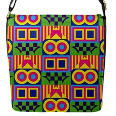 Colorful Shapes In Rhombus Pattern Flap Closure Messenger Bag (s) by LalyLauraFLM