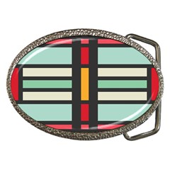 Mirrored Rectangles In Retro Colors Belt Buckle