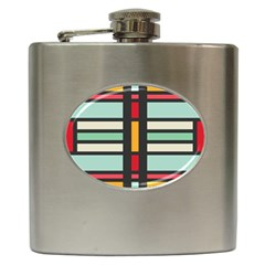 Mirrored Rectangles In Retro Colors Hip Flask (6 Oz) by LalyLauraFLM