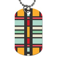 Mirrored Rectangles In Retro Colors Dog Tag (two Sides) by LalyLauraFLM