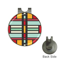 Mirrored Rectangles In Retro Colors Golf Ball Marker Hat Clip by LalyLauraFLM