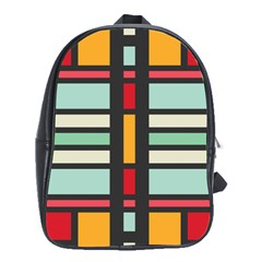 Mirrored Rectangles In Retro Colors School Bag (xl) by LalyLauraFLM