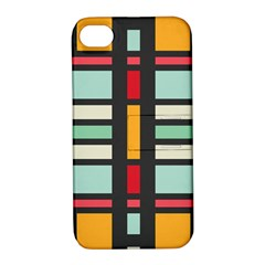 Mirrored Rectangles In Retro Colors Apple Iphone 4/4s Hardshell Case With Stand by LalyLauraFLM