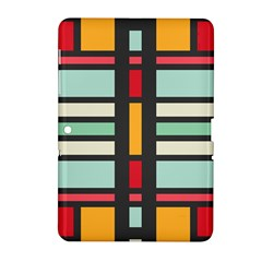 Mirrored Rectangles In Retro Colors Samsung Galaxy Tab 2 (10 1 ) P5100 Hardshell Case  by LalyLauraFLM