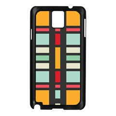 Mirrored Rectangles In Retro Colors Samsung Galaxy Note 3 N9005 Case (black) by LalyLauraFLM