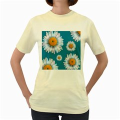 Floating Daisies Women s Yellow T-Shirt by theimagezone