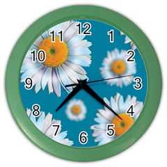 Floating Daisies Color Wall Clocks by theimagezone